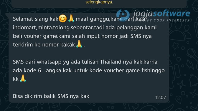 "Modus ""Voucer Game Indomart"" Retas WhatsApp Minta Verifikasi Nomor HP"